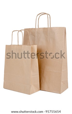 Shopping paper bags on white background.