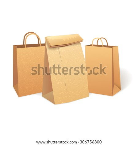 Shopping paper bags that save the environment.. Eco Market Promo illustration
