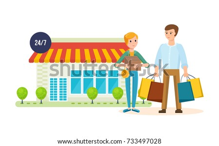 Shopping People Concept Young Couple After At The Mall Got Out Of