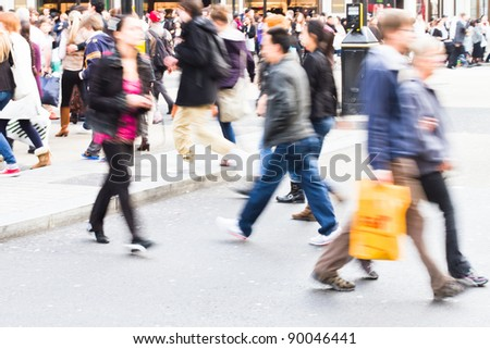 shopping people crossing the street - stock photo