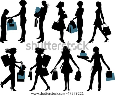 Shopping people.  Raster version of vector illustration. - stock photo