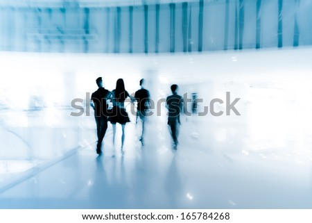 shopping people walking at marketplace abstract blur background