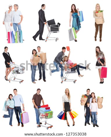 Shopping people with bags and baskets. Isolated on white - stock photo