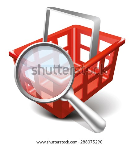 Shopping Red Cart and Magnifying Glass Illustration. Modern design 3d style icon, isolated on white background