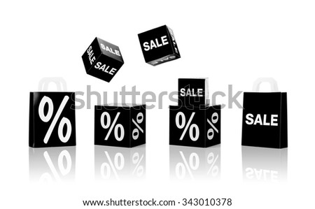shopping, retail and black friday concept - set of boxes and shopping bags with sale and percent sign - stock photo
