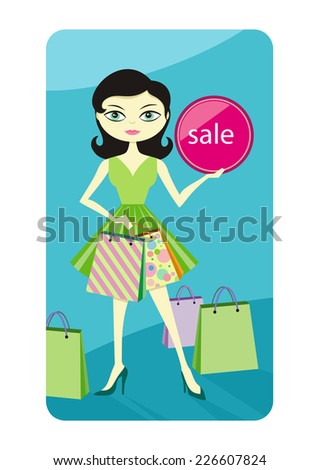 Shopping sale girl woman showing shopping bag with sale written on lable. Beautiful smiling woman showing red shopping tag flat design cartoon style. Raster version