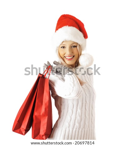 shopping santa claus woman. bags with purchases. isolated on white background - stock photo