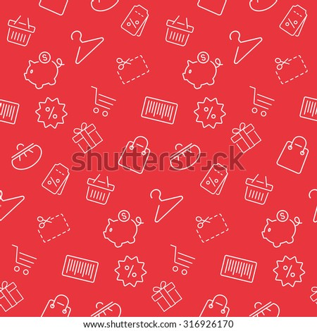 Shopping seamless pattern, background in thin line style