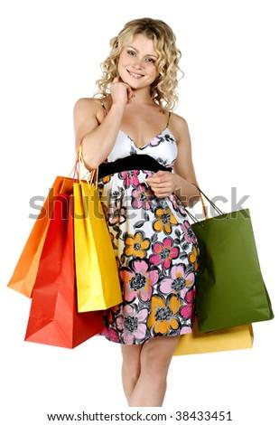 Shopping sexy woman - stock photo