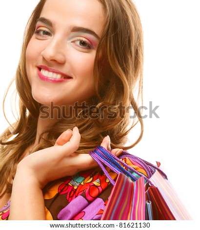 Shopping sexy woman. Young and happy.