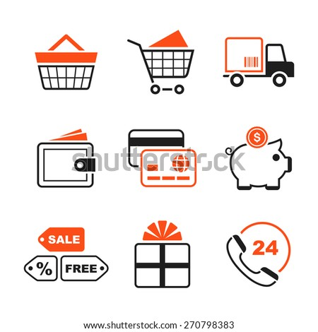 Shopping simple icon set - cart, delivery, purse, card, money box, sale, gift, phone