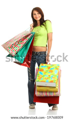 Shopping smile woman. Isolated over white background