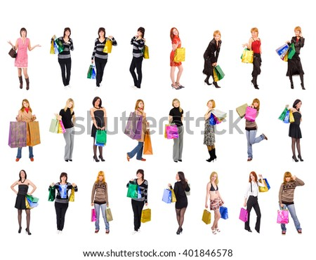 Shopping Spree Crowd of Shoppers  - stock photo