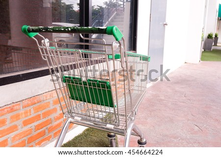 Shopping supermarket cart in outdoor.