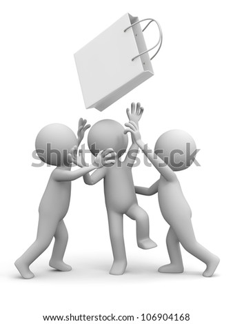 shopping / three people are fighting for a shopping bag - stock photo