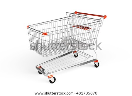 Shopping trolley isolated on the white background. Chrome cart for hypermarket. 3D render image.