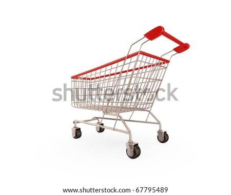 Shopping trolley isolated on white background.3d rendered. - stock photo