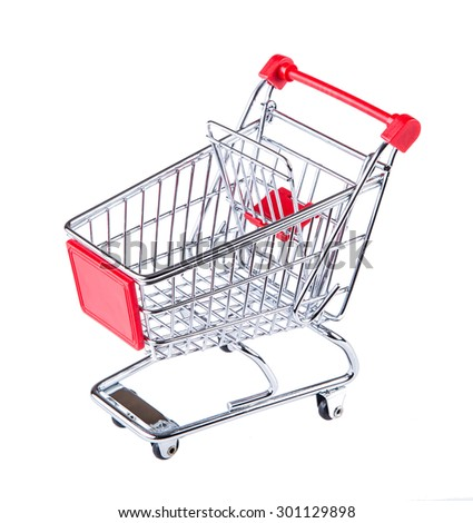 Shopping trolley. Shopping trolley isolated on white. The empty cart for purchases on the white - stock photo
