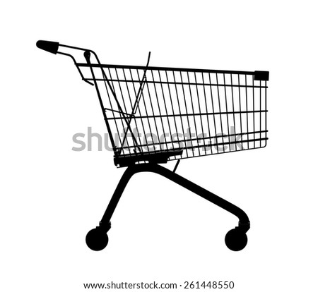 Shopping trolley silhouette on a white background.