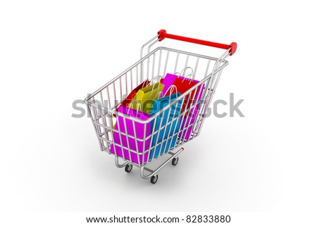 Shopping trolley with bags - stock photo