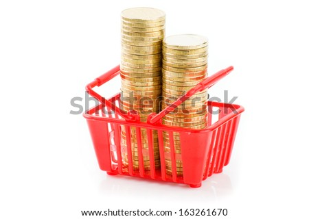 shopping trolley with coins, isolated on white - stock photo