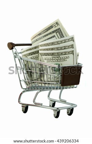 Shopping trolley with dollars for business concept isolated on a white background