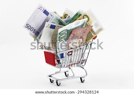 Shopping Trolley With Euro Banknotes - stock photo