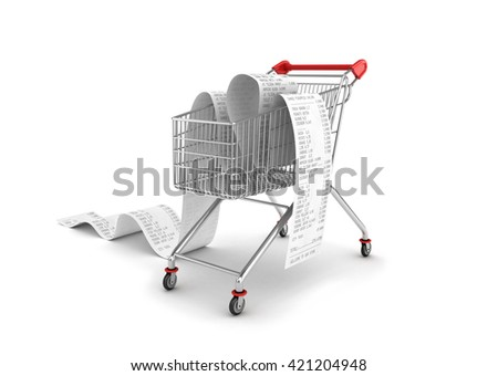 Shopping Trolley With long Receipts Over White Background, 3d illustration