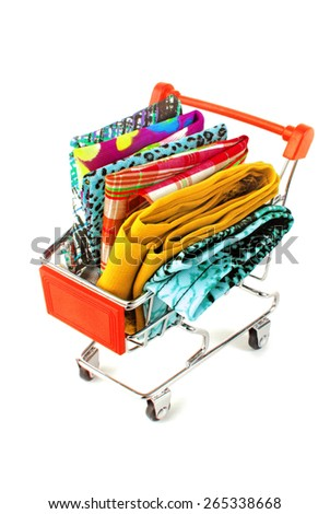 shopping trolley with textile fabric - stock photo