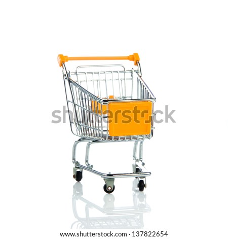 shopping trollly isolated on white background - stock photo