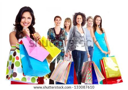 Shopping woman group. Isolated on white background. - stock photo