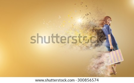Shopping woman holding bags with copyspace. - stock photo