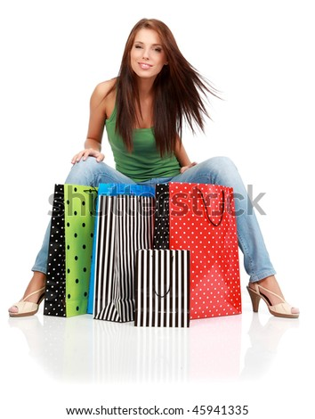 Shopping woman. Isolated over white background