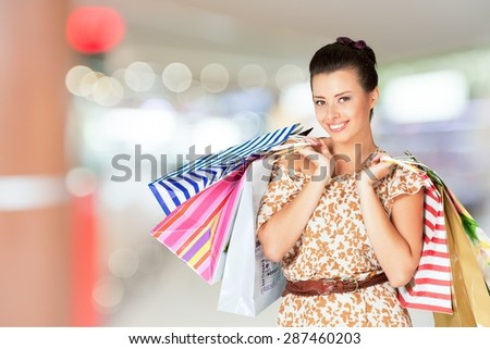Shopping, Women, Cheerful.