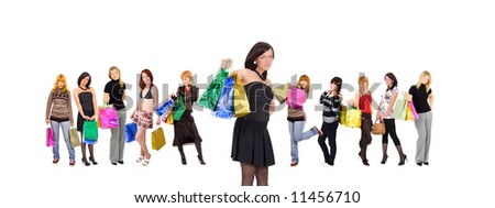 "shopping women group isolated - See similar images of this ""Gorgeous shopping women"" series in my portfolio"