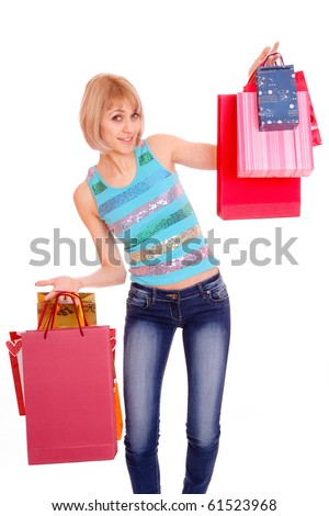 Shopping women smiling. Isolated over white background
