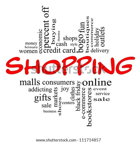 Shopping Word Cloud Concept in red and black letters with great terms such as sale, bogo, commerce, mall, women and more.