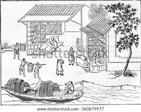 Shops china merchants and boarding porcelain vases, vintage engraved illustration. Magasin Pittoresque 1857.