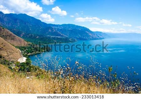 Shore at Lake Atitlan in Guatemala  - stock photo
