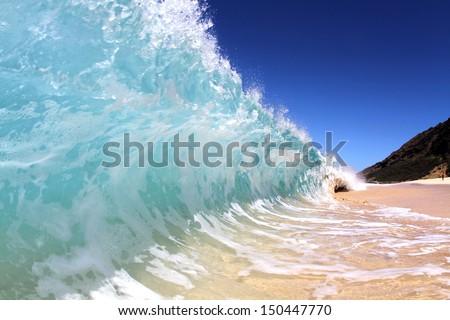 shore breaking wave - stock photo