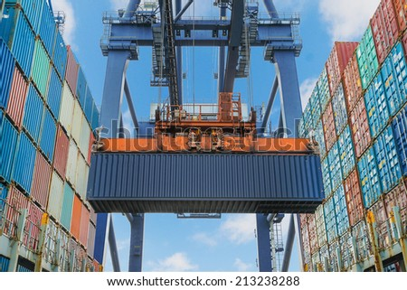 Shore crane lifts container during cargo operation in port - stock photo