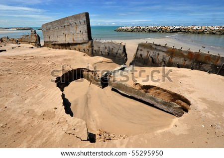shore erosion, rayong ,thaialnd - stock photo
