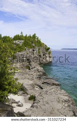 Shore line at Bruce Peninsula National Park - stock photo