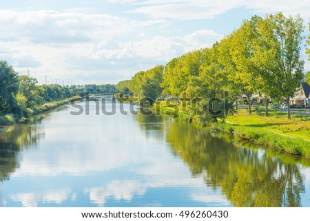Shore of a canal in sunlight at fall