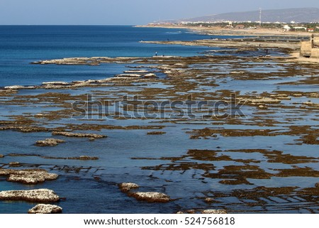 shore of the Mediterranean Sea at the end of the bathing season in northern Israel