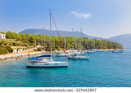 Shored yachts and boats in Kefalonia, Fiskardo bay.