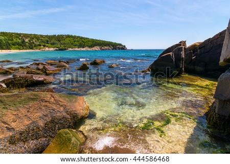 Shoreline at Sand Beach, Acadia National Park. Maine, New England - stock photo