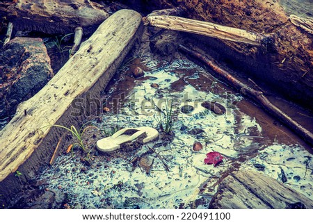 Shoreline contaminated with garbage and hazardous toxic chemical gasoline waste.  A discarded child's sandal serves an iconic reminder of the human carbon footprint. Filtered for a retro vintage look. - stock photo