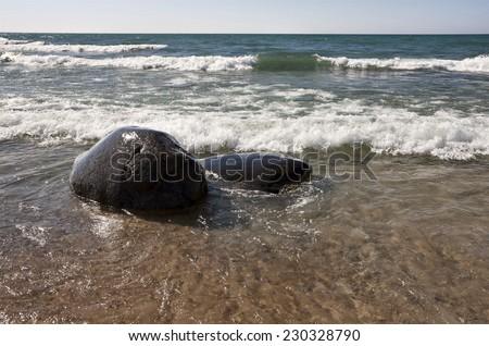 Shoreline Lake Huron Ontario Canada beach waves - stock photo