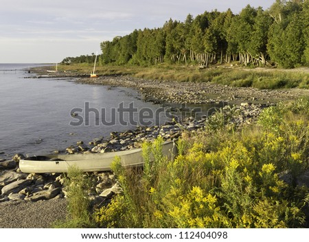 Shoreline of Lake Michigan early in the morning at beginning of September, Door County, Wisconsin - stock photo